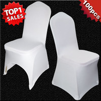 banquet blanc achat en gros de-100 pcs Universal White Polyester Spandex Wedding Chair Covers pour mariage Banquet Folding Décor Décoration d'hôtel Hot Sale Wholesale