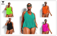 big bust women - 2015 Colorful Big Size Swimsuit Women One Piece Plus Size L XL Halter Swimwear Tassel One Piece Bathing Suits Fringe Large Bust Beach Wear