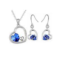 Crystal, Rhinestone austrian crystal jewlery - 18k Silver Plated Austrian Crystal Element Heart Necklace Earrings Sets Fashion Heart Jewlery Sets For Women Fine Jewlery