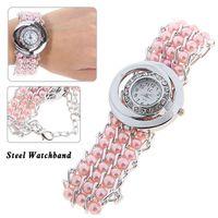 Wholesale Korean Fashion Quartz Watch Women Rhinestone Watches Hours Pearl Bead Decoration Analog Bracelet Watch Casual Watches Gift