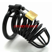 Wholesale Black stainless steel lockable dildo bondage cock cage penis ring cage dildo cage rings sex toys for men male chastity devices