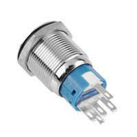 IP67 auto push pins - 19mm V A Blue LED Ring Illuminated ON Off Push Button Pin Terminals Self Locking Flat Auto Boat Car