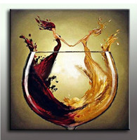 Cheap large size Decorative Art 100% Hand made Oil Painting On Canvas Living Room Home Decor Wall Paintings woman and Wine Glass T1P04