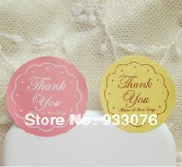 Wholesale kraft paper adhesive sticker label paster pink and yellow colors cookie bag box sealing paste