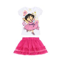 Wholesale new arrival Dora Girl Dress Design Dora Kids Cartoon Cute Baby Clothes Summer Casual Dresses t shirt Pink Tulle White TuTu Dresses