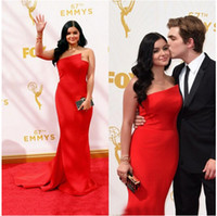 ariel blue - 2015 th Emmy Awards Evening Dresses Ariel Winter Strapless Satin Mermaid Red Carpet Gowns Custom Made Prom Party Special Wear