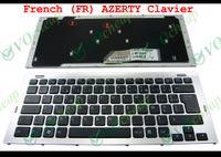 Nouveau clavier d'ordinateur portable pour Sony Vaio VGN-SR VGN SR190E SR SR129E de SR190 avec cadre Argent Noir Français FR AZERTY Clavier 148090141