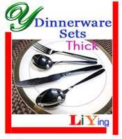 flatware - stainless dinnerware sets knife spoon fork set pc quality silver flatware table spoon durable handle hotel restaurant supplies cutlery