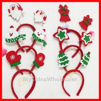 Wholesale Christmas Xmas Novelty Headband Hat Costume Reindeer Santa Snowman Cute Adult Kids Red Headgear Headband Hair Band Party Fancy Dress Cosplay