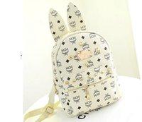 Wholesale 2015 New fashion famous brand MCM backpacks women leather handbags girls rivet travel bag Korea style designer stripes school bags FA67