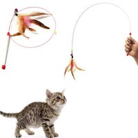 bell wire products - Random Colored Feathers Funny Cats Wire Rods Flying Bell Favorite Cats Toy For Pet Products
