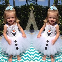 TuTu Summer Pleated Baby Girls summer sleeveless vest dress Frozen Christmas Princess Dress Baby Girl white Olaf Tutu Dresses sling Dress