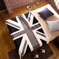 achat en gros de drapeau américain jet-Gros-160 * 130cm Drapeau américain Drapeau britannique, molleton couverture sur le lit Large Serviette Manta Para Sofa Crochet Couvertures Throw chaud