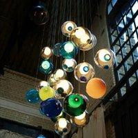 Wholesale Bocci glass ball pendant lamp chandelier colors glass spheres modern lamp Color Bubble head LED crystal chandeliers