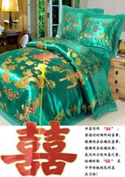 Wholesale Wedding bed cover comforter bedding set king queen size green blue comforters sets duvet quilt sheet bedcloth silk satin brocade