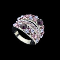 Wholesale Anillos Mujer Ring Purple Color Rhinestone Rings for Women Anel Luxury Joias Wedding Gift Vintage Jewelry