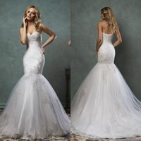 Wholesale Beautiful Mermaid Wedding Dresses Amelia Sposa Strapless Sweetheart Fit and Flare Chapel Train Pleats Tulle and Lace Wedding Gowns