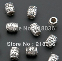 Wholesale 200Pcs Tibetan Silver Art Design Barrel Beads Charm For Bracelet Necklace Fashion Jewelry Making DIY Accessories C1086