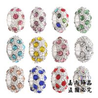 Celtic faceted rondelle beads - Loose Pandora Murano Glass Beads Crystal Inlaid Faceted Rondelle Spacer Big Hole Charms Beads Fit DIY European Bracelets