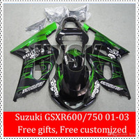 Wholesale Free Gifts GSXR Fairing Kits Fit SUZUKI GSX R600 GSX R750 K1 GSXR600 GSXR750 Green Line Black ABS Body
