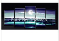 Cheap Best Seascape Sun Rise From Sea Land 100% Oil Paint 5 Panels A Set Wall Decor Handmade Oil Picture Pure By Hand Home Decorative