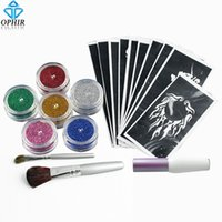 Wholesale OPHIR Colors Powder Temporary Glitter Tattoo Kit for Body Art Paint with Tattoo Stencils Makeup Painting _TA054