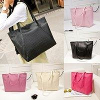 large handbags - 2015 Women Handbag Woven Pattern PU Leather Large Capacity Shoulder Bag Casual Tote bolsos mujer B0032