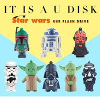 memory stick star achat en gros de-32GB / 16GB / 8GB / 4GB Robot de dessin animé Star Wars Darth Vader USB Memory Stick bloc mobile U disque Swivel mini USB Flash Drives