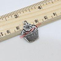 Charms cupcake charm - 100pcs Tibetan Silver Tone Cute Food Cupcake Charm Fashion Pendants Jewelry DIY Jewelry Findings x18mm