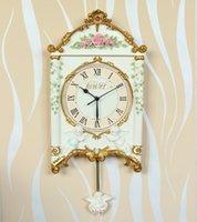 Wholesale European retro living room bedroom mute resin wall clock creative pastoral personality movement watches sun angel clock