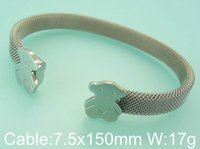 Wholesale Bear Bracelet Jewelry For Women New Fashion Styles Stainless Steel C Mesh Cuff Bangles