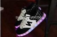 Wholesale fashion Couples USB charging fluorescent LED British men and women shoes sneakers colorful light shoes