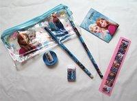 Wholesale Frozen stationery set for Students Office Pencil Cases Frozen Bags Frozen Ruler Pencils Frozen Purses Wallet creative pencil