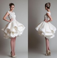 Casual Fall 2014 Knee Length Wedding Dresses Cheap Krikor Jabotian