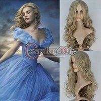 Wholesale New Movie Princess Cinderella Wig Long Curly Ash Blonde Cosplay Accessories Adult Women Halloween