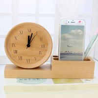 antique card tables - Electronic desk table wood alarm clock Pen case business card Mobile phone holder Beech wooden alarm clock electronic clock