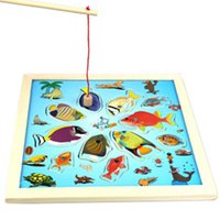 baby fish games - Educational Wooden Toy Colourful Game Magnetic Fishing Puzzle Environmental Kids Children baby toys Magnetic Fishing Bug Dinasour Fun Puzzle