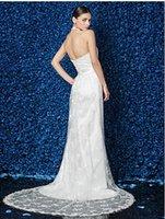 Cheap  Column Halter Court Train Lace And Stretch Satin Wedding Dress