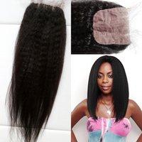 baby beyonce - 7A Cheap Silk Base Closure kinky Straight Brazilian Virgin Human Hair Silk Top Closures With Baby Hair beyonce hair closure
