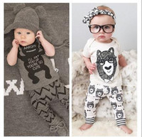 little girls clothing - 2015 Cute Baby Girls Boys summer Outfits Set infant Cartoon Bowtie Bear Little monster Cotton Tops Harem Pants clothing sets Suits
