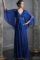 bat wings pictures - Fabulous Royal Blue Mother of the Bride Chiffon Dresses Bat Wing Sleeves Evening Party Gowns Wedding vestidos de fiesta Empire Beaded Sash