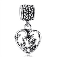 flat ring - Fashion Hearts Pendant Charms SIS Sterling Silver Beads Ring For Pandora Necklace European Charm DIY Bracelets Snake Chain