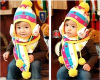 Wholesale 2pcs Super Cute Warm baby Kids rabbit dot knitted hat scarf set winter hat and scarf for year girls boys