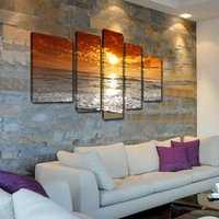 Cheap 2015 Canvas Painting Sunset and Golden Cloud 5 pcs Landscape Decor Art Cheap Picture Home Decor On Canvas Modern Wall Prints