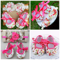 baby christening shoes boys - Christening zapatos shabby flower baby girl shoes Bow headband set Rhinestone fabric Crib baby booties Crib toddler girl boots