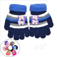 Wholesale 2016 Winter Children Finger Gloves Girls Kids Full Half Double Layer Design Glove Baby Warm Glove Mix Color ST0178