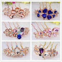 rhinestone hair comb - Korean temperament multicolor fashion alloy rhinestone hair comb inserted comb plate upscale bridal headdress hair accessories