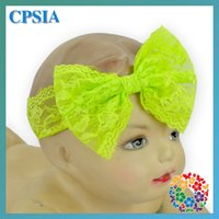 big head photos - New Fancy Cheap Big Lace Bow Front Hair Band Kids Headband Lime Green Baby Girls Vintage Head Wrap Photo Prop Hair Accessories DHL free