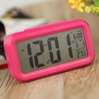 Wholesale New Hot LED Digital Alarm Clock Repeating Snooze Light activated Sensor Backlight Time Date Temperature Display