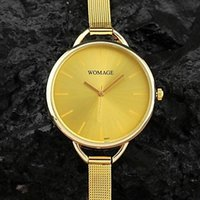 Cheap Women's big Round Simple Dial Quartz Analog Small Woven Metal Band Casual Wrist Watch(Gold, Silver)